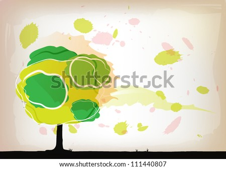 abstract vector tree watercolor background