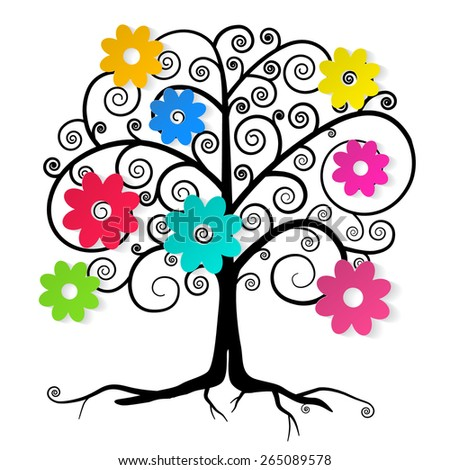 Abstract Vector Tree with Colorful Flowers - stock vector
