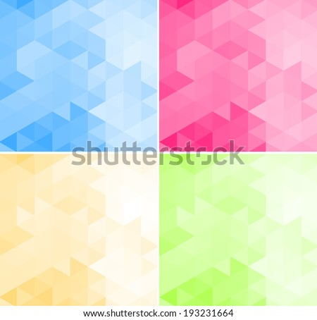 Abstract vector trendy geometric triangular and hexagonal patterns collection. Modern polygonal backgrounds. Colorful mosaic.
