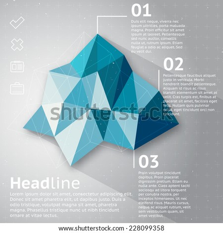 Abstract vector triangle geometric infographic, blue ice mountain shape on a gray background with sample text and business icons - stock vector