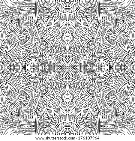 Abstract vector tribal ethnic background seamless pattern - stock vector