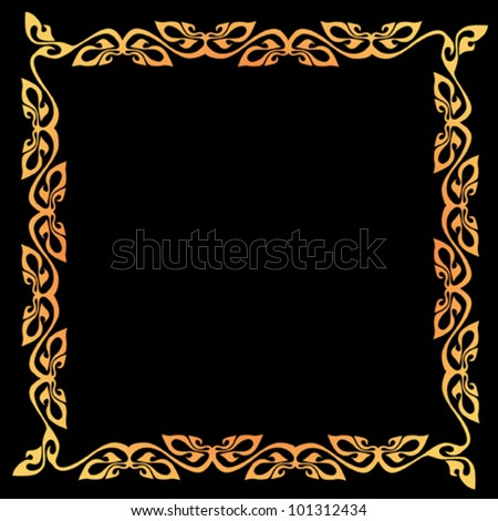 Abstract vector vintage border frame with retro ornament pattern .