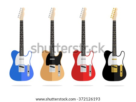 Abstract vector vintage flat design guitar collection isolated on a white background