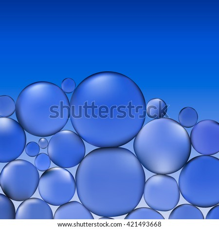 abstract vector water with bubbles. Bubbles in water on blue background pattern. Circle and liquid, light design, clear soapy shiny, vector illustration.  - stock vector