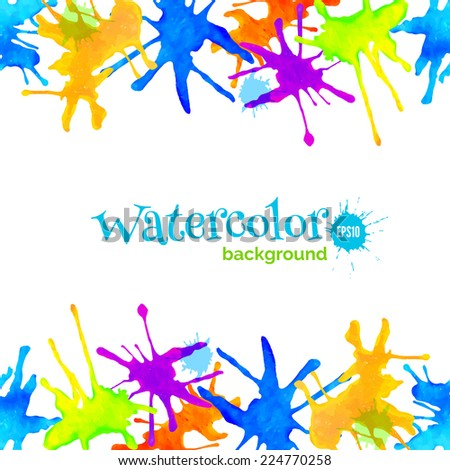 Abstract vector watercolor background with splatter, header, decorative frame with borders of colorful blots - stock vector