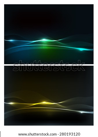 Abstract vector wave light lines - stock vector