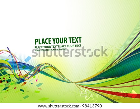 Abstract vector wave line background. - stock vector