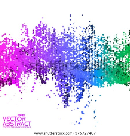 Abstract vector wave mesh background. Noisy point array. Futuristic style card. Elegant background for business presentations. Audio wave made of points. Colorful dots.