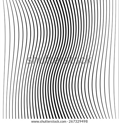 Abstract Vector Wave Stripes . Vertical Curved Lines . - stock vector