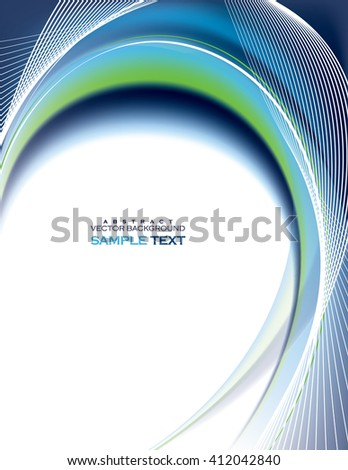 Abstract Vector Wavy Illustration. Blue Background. - stock vector