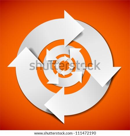 Abstract Vector white life cycle diagram / schema - stock vector