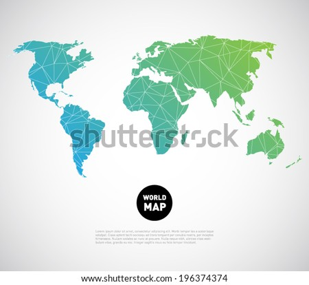 Abstract vector world map background with polygonal / triangle style design. Clean and modern for infographics or business design