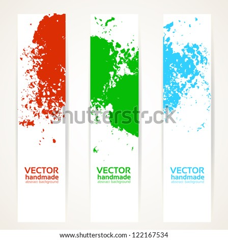 Abstract vertical handdrawing banner set - stock vector