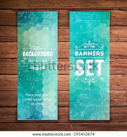 Abstract vertical vector eps10 banners with trendy multicolored polygonal pattern. - stock vector