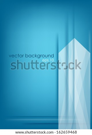 Abstract vertical white arrow on blue background. Vector version. - stock vector