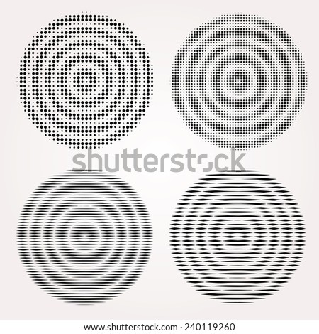 Abstract vibrating circles vector set. - stock vector
