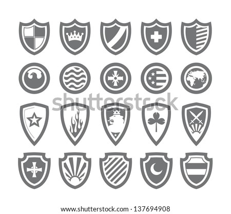 Abstract victorian arms on shields - stock vector