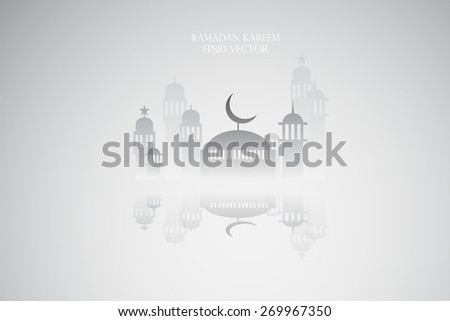 Abstract view of Mosque or Masjid and reflection, paper design, vector eps10 - stock vector