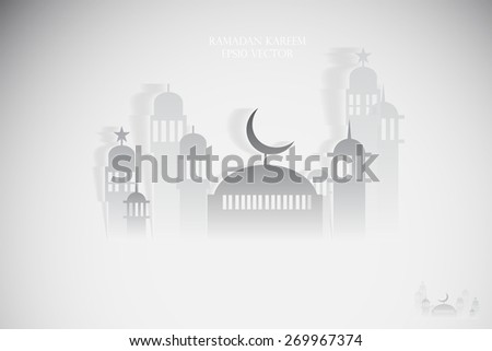 Abstract view of Mosque or Masjid with shadow, paper design, vector eps10 - stock vector