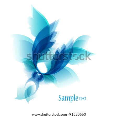 Abstract vintage blue background for design with leafs and flowers. - stock vector