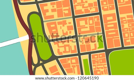 Abstract vintage city map design - stock vector