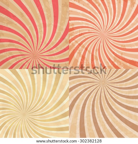 Abstract vintage colored sun burst background - stock vector