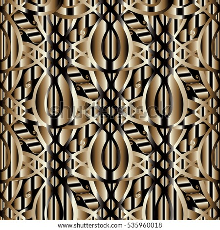 Abstract vintage 3d paisleys seamless pattern. Floral wallpaper. Decorative gold and black abstract vector  background.