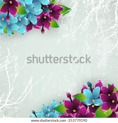 Abstract Vintage Grunge Background With Spring Lilac Flower Frame, Copyspace - stock vector