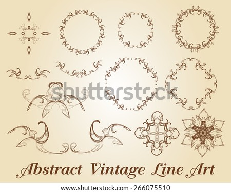 Abstract Vintage Line Art - stock vector