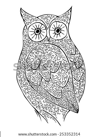 Abstract Vintage Owl Over White Background - stock vector