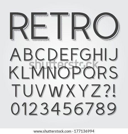 Abstract Vintage Retro Font and Numbers, Eps 10 Vector - stock vector