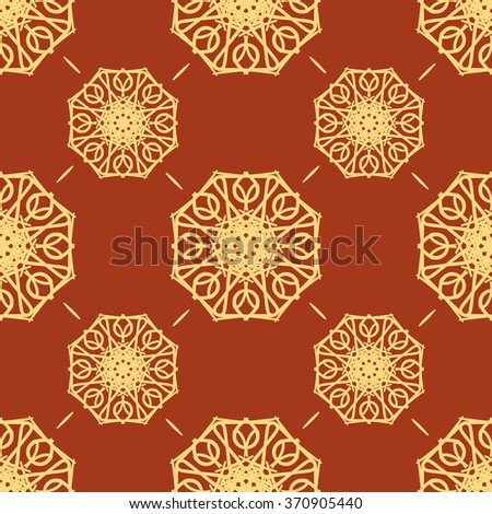 Abstract Vintage Seamless Pattern on Red Background. Flora Doodle Style, Floral Pattern.  Vector Illustration. - stock vector