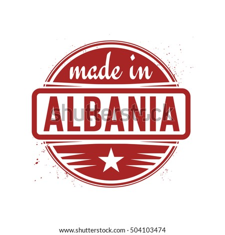 Abstract vintage stamp or seal with text Made in Albania, vector illustration