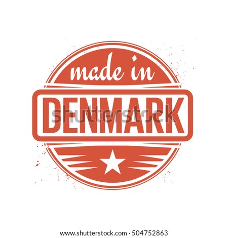 Abstract vintage stamp or seal with text Made in Denmark, vector illustration