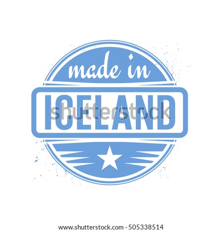 Abstract vintage stamp or seal with text Made in Iceland, vector illustration