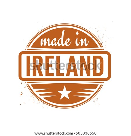 Abstract vintage stamp or seal with text Made in Ireland, vector illustration
