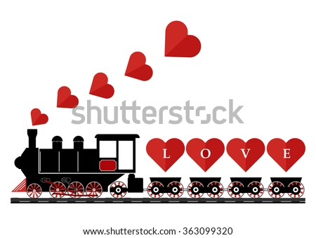 Abstract vintage steam engine locomotive love train truck with love hearts on railroad track isolated on white background. Vector illustration flat design valentine day love concept. - stock vector