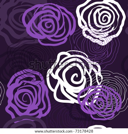 Abstract violet vector background with roses - stock vector