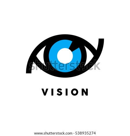 Abstract vision logo with blue and black eye icon concept isolated on white background. Vector illustration.