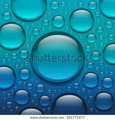Abstract water drops on glass, Bright color design, Blue background.