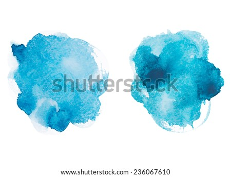 Abstract watercolor aquarelle hand drawn blue art paint on white background Vector illustration - stock vector
