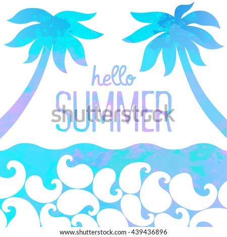 Abstract Watercolor Background. Hello Summer Card. Marine Background.  Vector Illustration