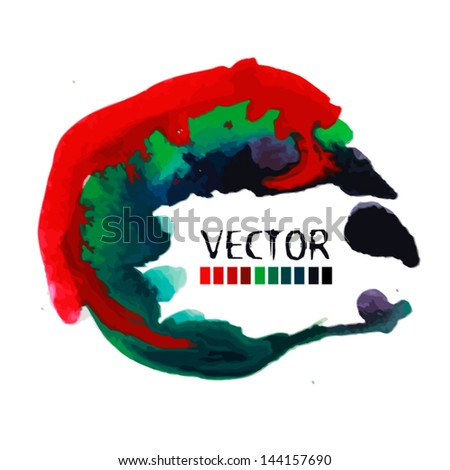 abstract watercolor background. Round frame for text - stock vector