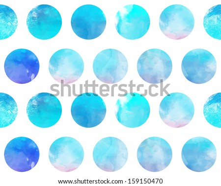 Abstract watercolor background with colorful circles on white. Vector art.  - stock vector
