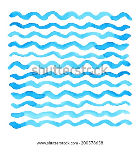 Abstract watercolor blue wave pattern, water texture sketch background. Drawing by hand. Vector illustration - stock vector