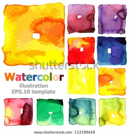 Abstract watercolor collection ; EPS.10 vector - stock vector