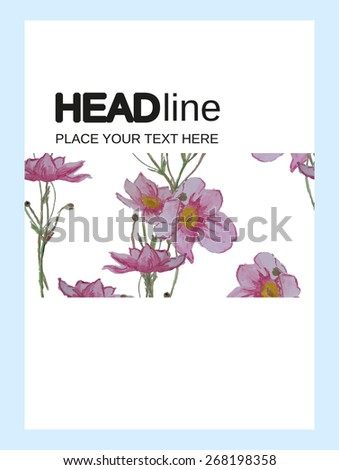 Abstract Watercolor flowers Brochure Flyer design Layout vector template in A4 size, vertical, free fonts are used. Good document structure. - stock vector