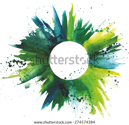 Abstract watercolor green and blue grunge background texture with a circle for text inside, scalable vector graphic