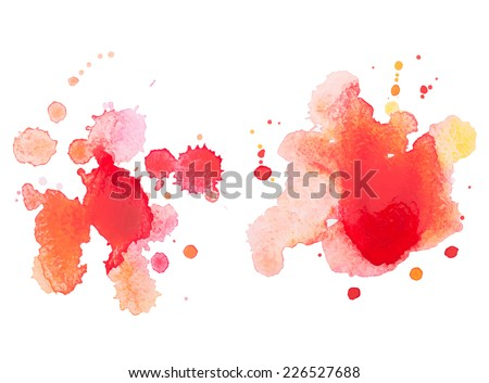Abstract watercolor hand drawn red drop splatter stain art paint on white background Vector illustration - stock vector