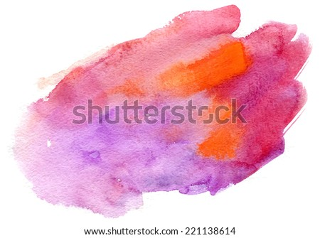 Abstract watercolor hand painted background in pink colors - stock vector